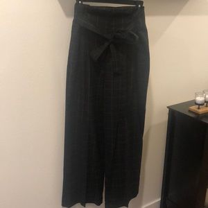 1.State High Waist Tie Front Plaid Pants